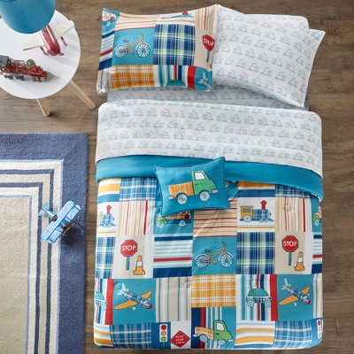 Zooming Zayn Blue Bed and Sheet Set (Twin)