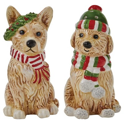 Park Designs Holiday Paws Salt And Pepper Set - Beige