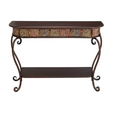 Traditional Metal Console Table - Dark Brown - Olivia & May