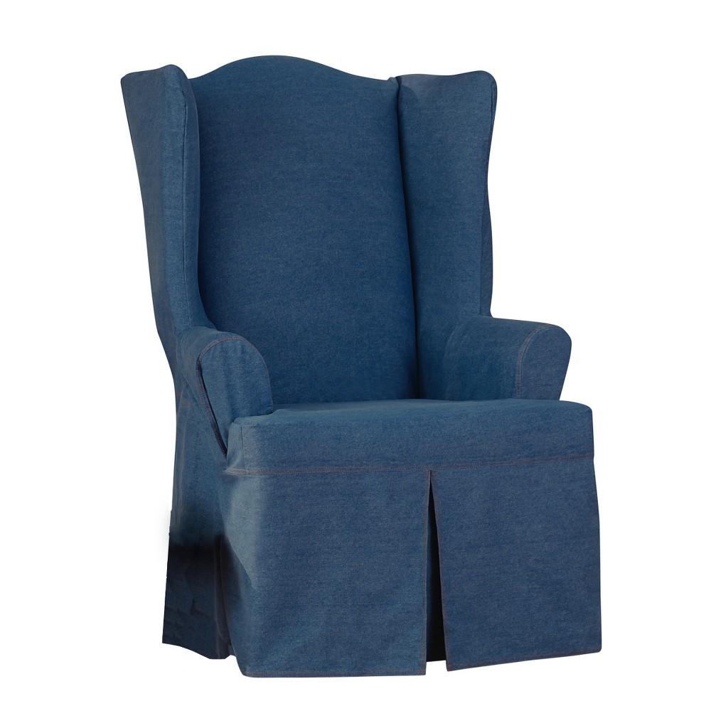 Authentic Denim Wing Chair Slipcover Indigo - Sure Fit