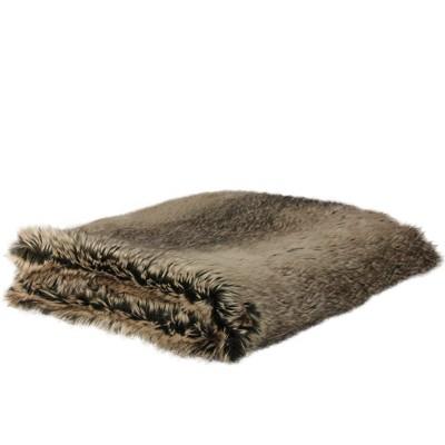 "Northlight 50"" x 60"" Faux Fur Plush Throw Blanket - Brown"