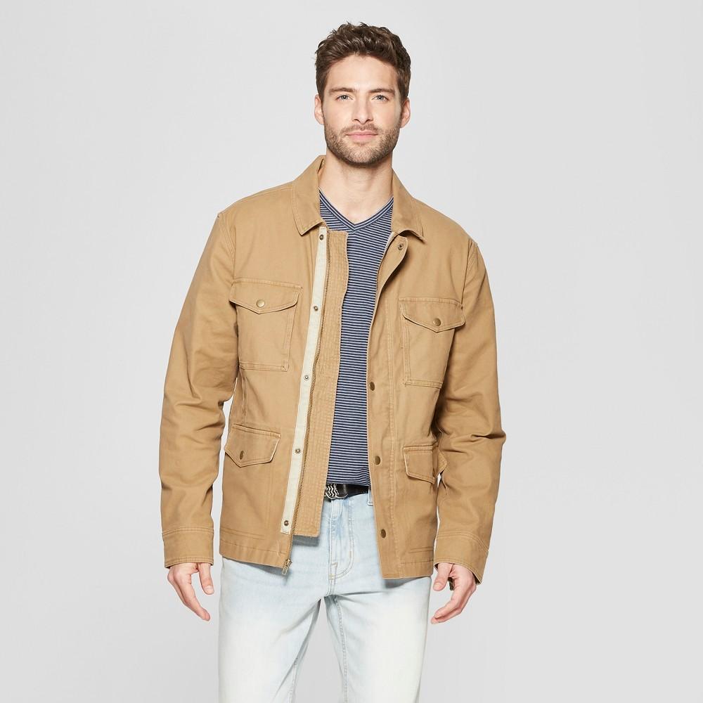 Men's Casual Fit Shirt Jacket - Goodfellow & Co Khaki XL, Beige