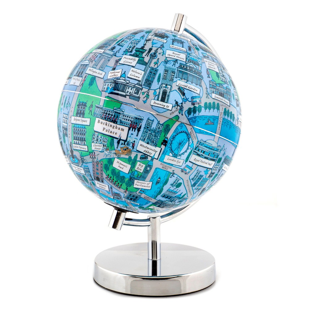 Globee London 4 Illustrated Globe, Multi-Colored The London globe comes mounted on a chrome silver stand. Each globe come with a 16 page booklet packed with interesting facts about the historic city and tourist sites depicted on the globe. The London globe depicts all the major landmarks and tourist sites of the city as well as the major streets and some of the famous characters associated with it. Color: Multi-Colored. Age Group: Adult.