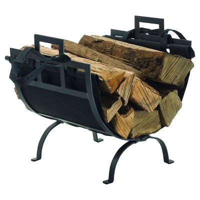 Pleasant Hearth Log Holder with Canvas Tote Black