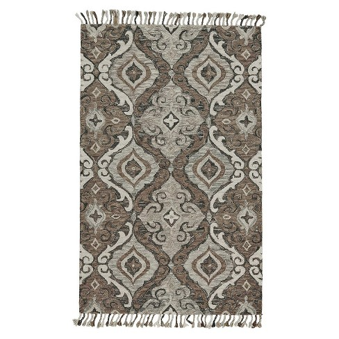 8 X11 Rectangle Floral Wool Area Rug Gray Feizy Target