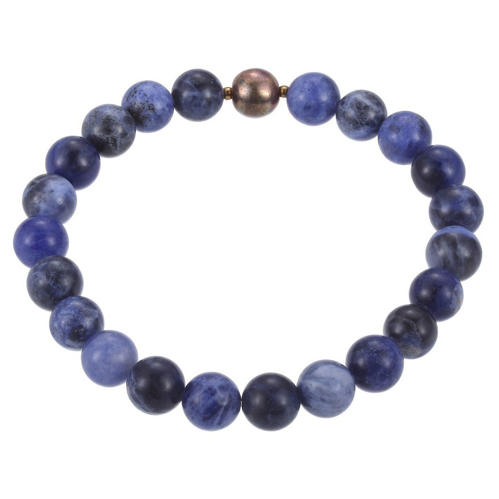 Genuine Sodalite with Fine Silver Plated Bronze Accent Beaded Stretch Bracelet - 6.5, Girl's, Blue