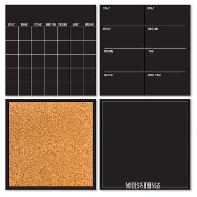 Wall Pops! ® Dry Erase Calendar and Cork Board Set - Black