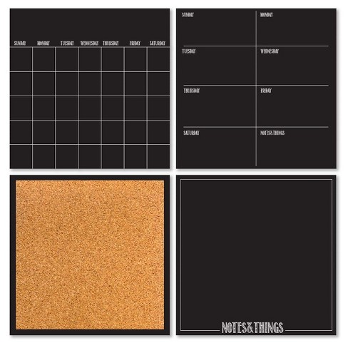 Wall Pops!  Dry Erase Calendar and Cork Board Set - Black - image 1 of 3
