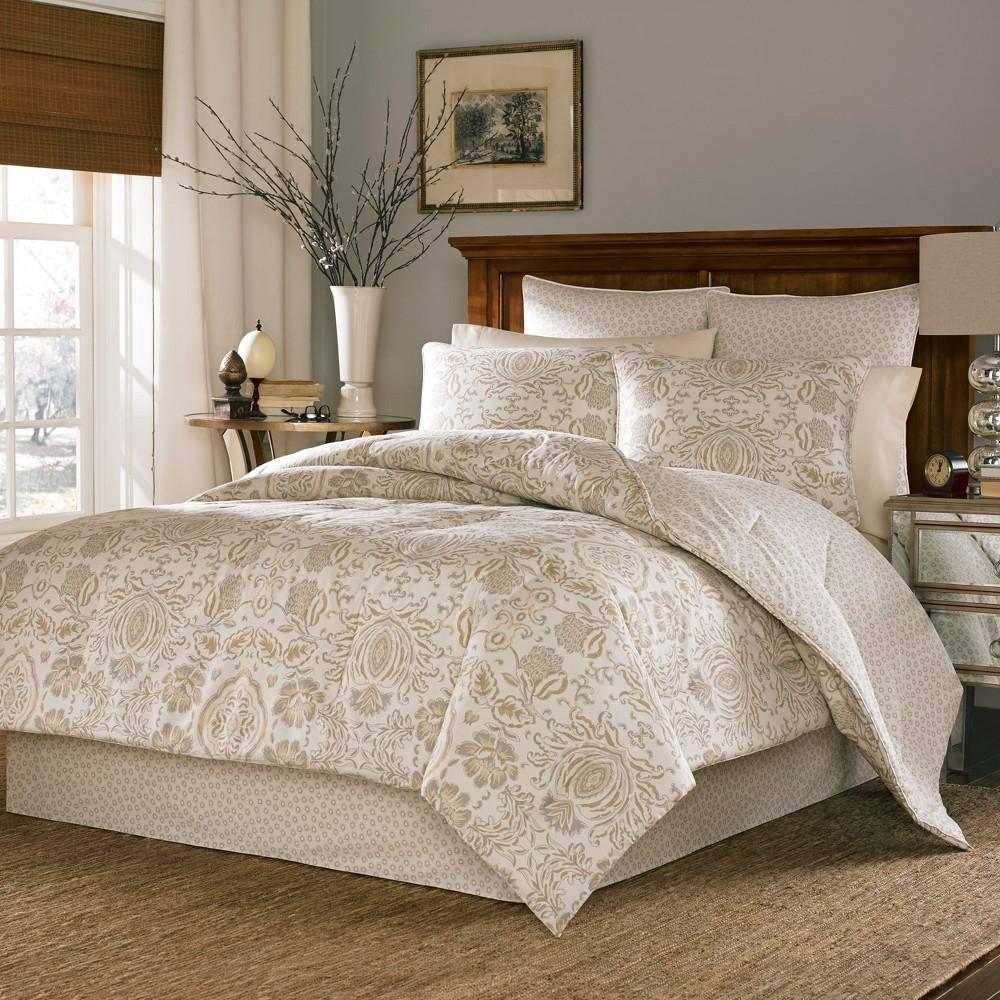 Cream & Gold Belvedere Comforter Set (Queen) - Stone Cottage, Beige