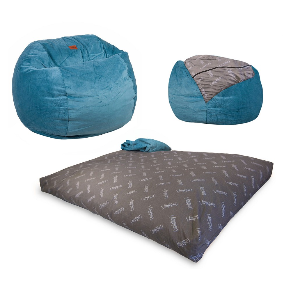 Cordaroys Ocean Plush Velour Convertible Bean Bag Chair - Full, Ocean Blue