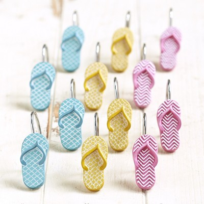 Lakeside Flip Flop Shower Curtain Hooks - Beach Themed Accent Rings - Set of 12