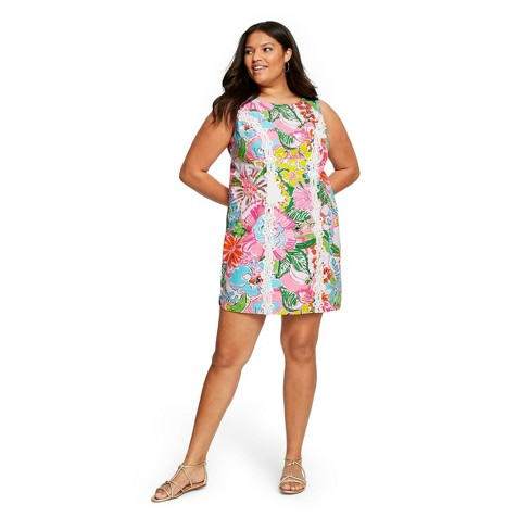 Women\'s Plus Size Nosey Posie Sleeveless Round Neck Shift Mini Dress -  Lilly Pulitzer for Target