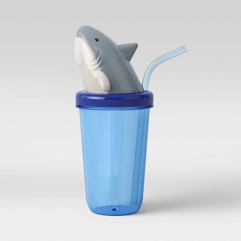17oz Plastic Shark Tumbler with Straw Blue - Sun Squad™ - image 1 of 2