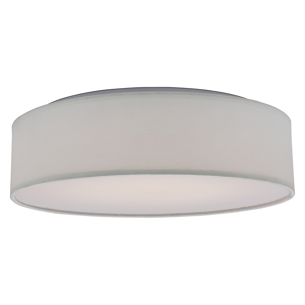 Image of Aurora Lighting 1 Light Fabric Flush Mount Ceiling Lights White