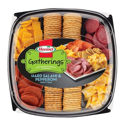 Hormel Gatherings Hard Salami, Pepperoni, Cheese & Crackers Party Tray - 28oz