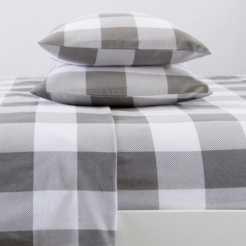 Great Bay Home 100 Cotton Flannel Buffalo Check Sheet Set Full Grey Target