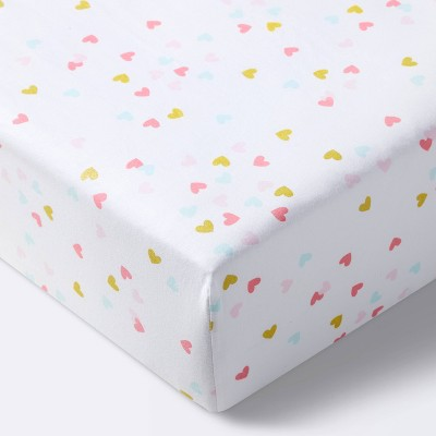 Fitted Crib Sheet Hearts - Cloud Island™ White