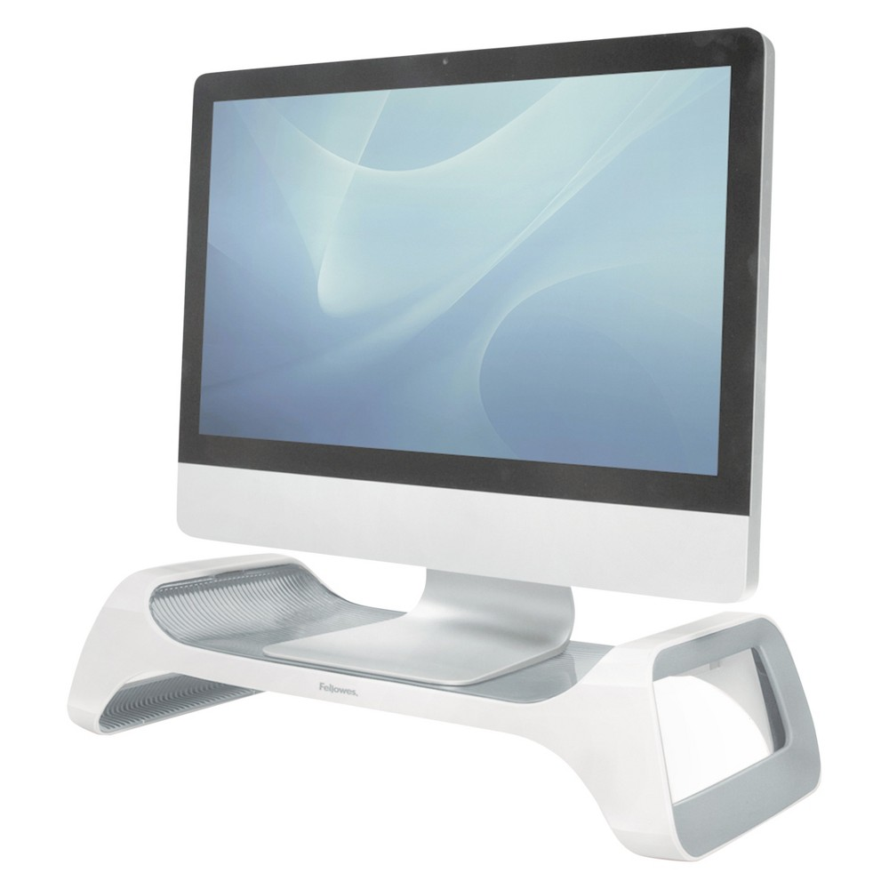 Image of Fellowes I-Spire Series Monitor Lift Riser, 20 x 8 7/8 x 4 7/8, White/Gray