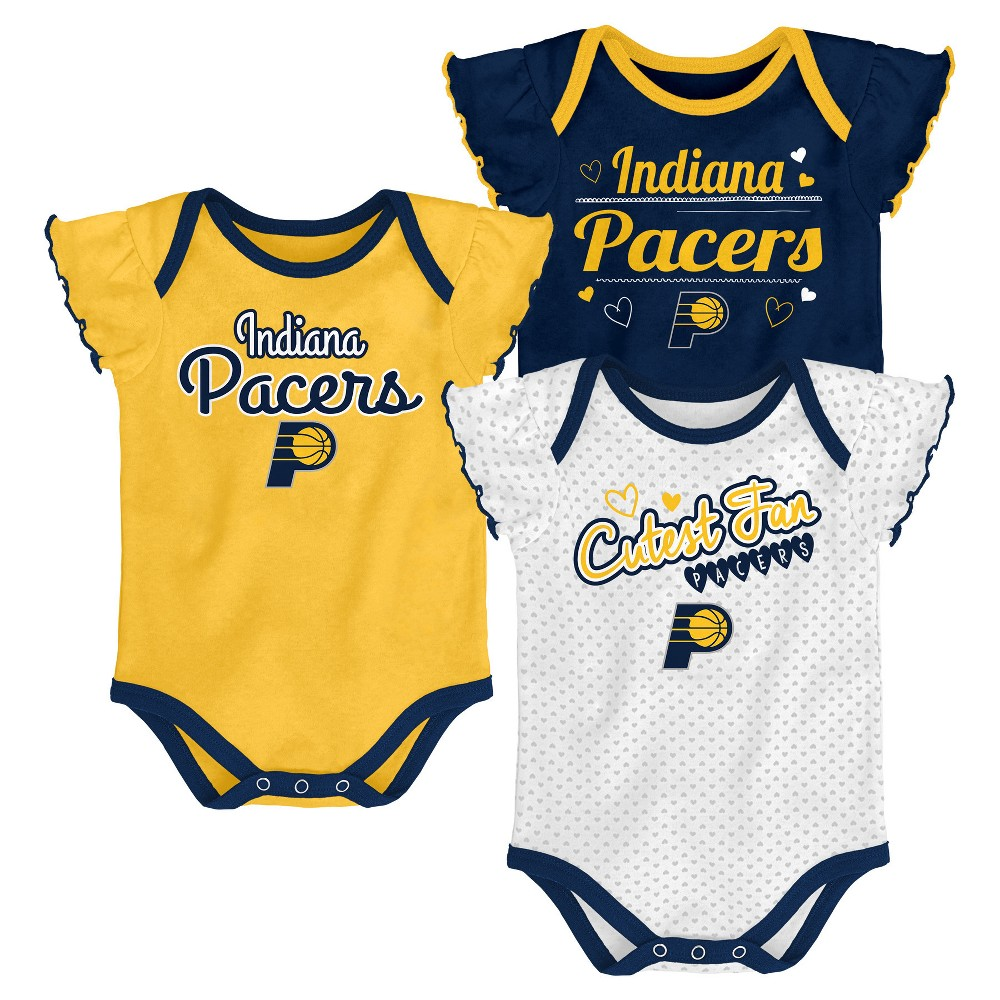Indiana Pacers Girls' Draft Pick 3pk Body Suit Set 3-6M, Multicolored