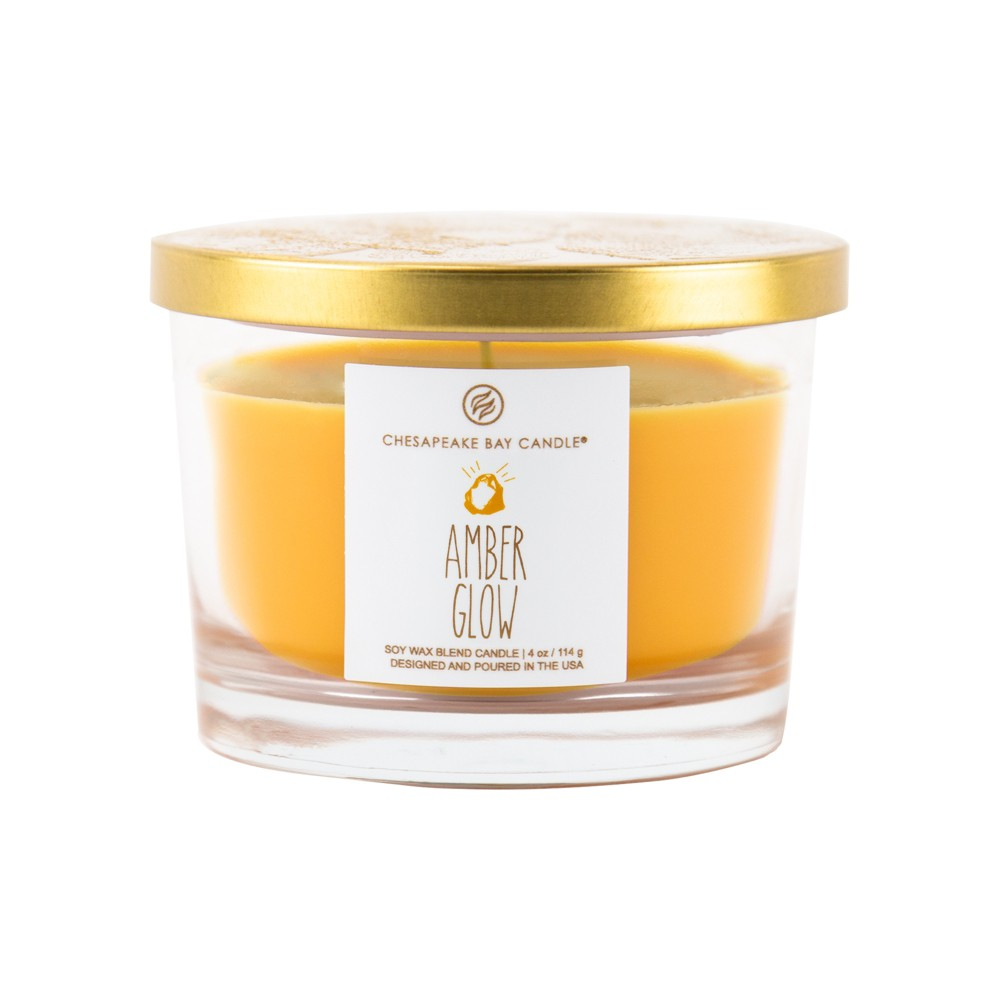 4oz Small Glass Jar Candle Amber Glow - Chesapeake Bay Candle, Yellow