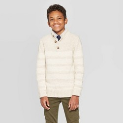Boys' Long Sleeve Pullover Sweater - Cat & Jack™ Off White