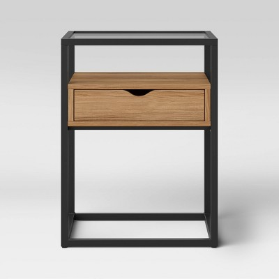 Ada End Table Glass Shelves and Metal Frame Black - Project 62™