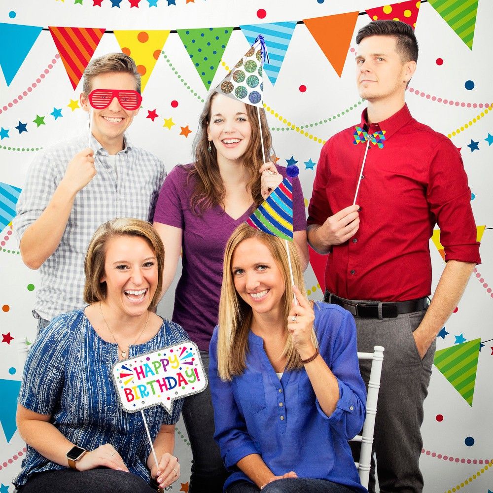 Birthday Party Photo Booth Kit, Multi-Colored
