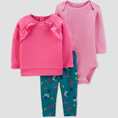 Baby Girls' 3pc Floral Ruffle Sleeve Top & Bottom Sets - Just One You® made by carter's Pink Newborn