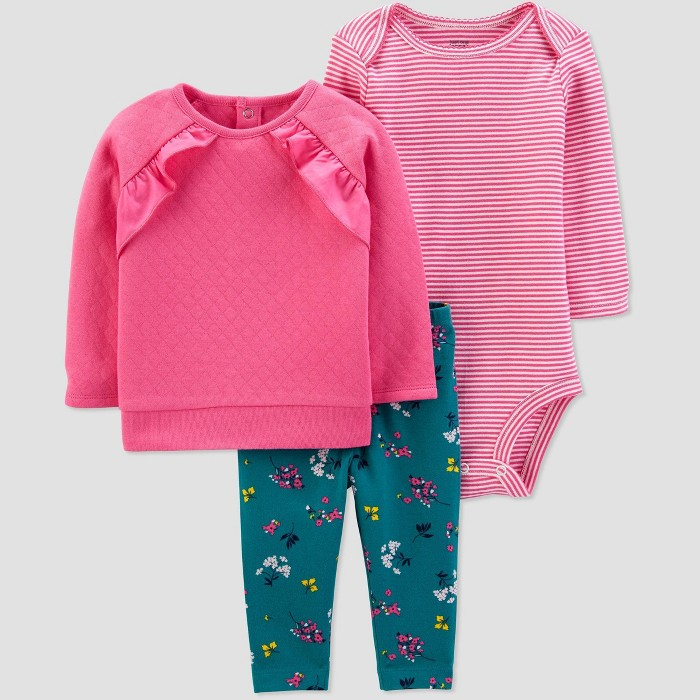 Baby Girls' 3pc Floral Ruffle Sleeve Top & Bottom Sets - Just One You® made by carter's Pink - image 1 of 1