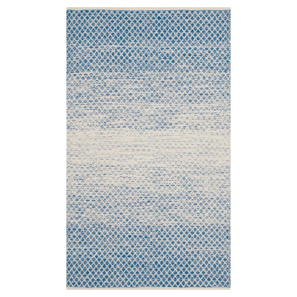 Blue Ivory Geometric Flatweave Woven Accent Rug 3 X5 Safavieh