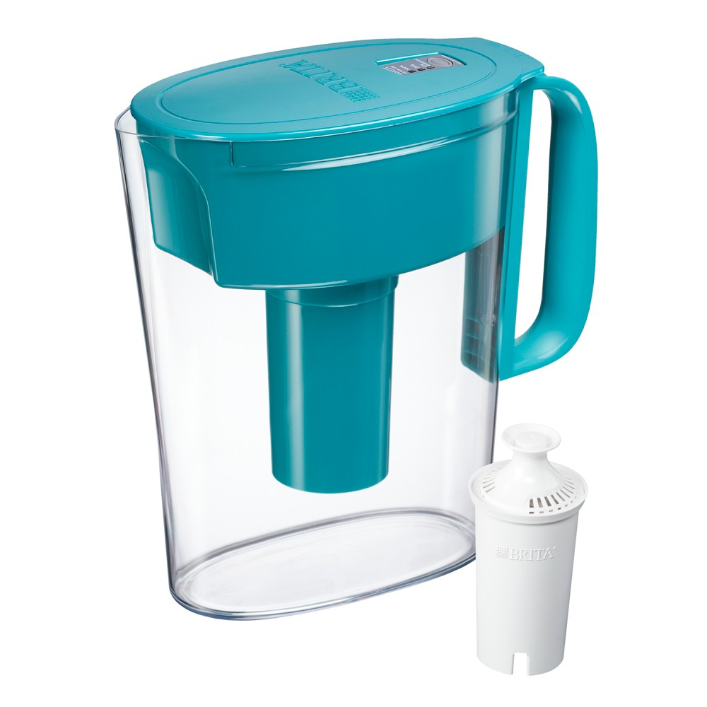 Image of Brita Small 5 Cup BPA Free Water Filter Pitcher with 1 Standard Filter - Turquoise