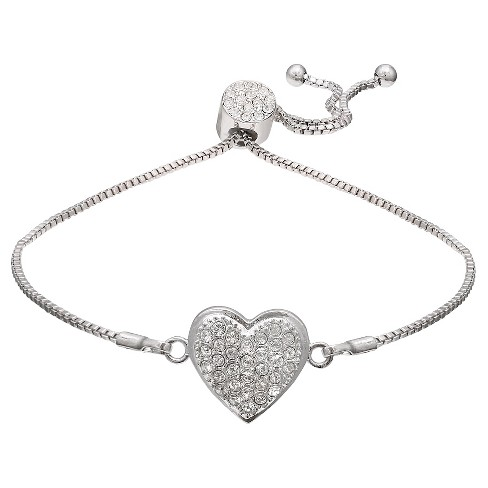 "Adjustable Bracelet with Clear Crystals from Swarovski on Heart in Silver Plate - Clear/Gray (9.5"") - image 1 of 1"