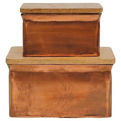 Aluminum Box with Wood Lid - Copper Finish - Set of 2