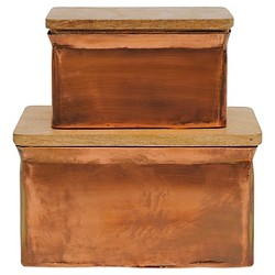 Aluminum Box with Wood Lid - Copper Finish - Set of 2