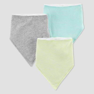 Baby 3pk Stripe Bibs - Just One You® made by carter's Gray/Mint One Size