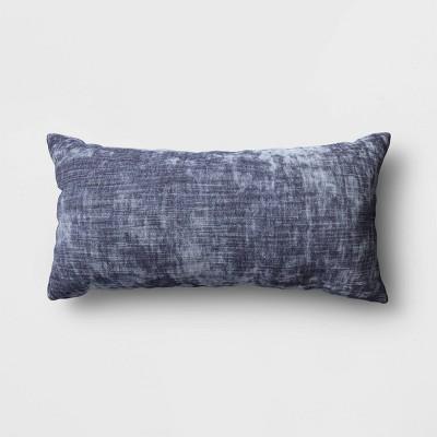 Oversized Velvet Lumbar Throw Pillow Blue - Threshold™