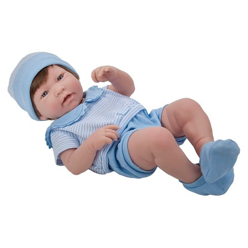 "JC Toys La Newborn 17"" All Vinyl Anatomically Correct Real Boy Newborn Baby Doll with Brown Hair. Made in Spain - image 1 of 2"