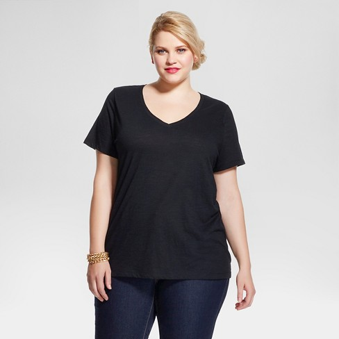 Women's Plus Size Core V-Neck T-Shirt - Ava & Viv™ - image 1 of 2