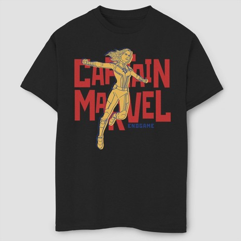 Boys' Marvel Text Pop Captain Marvel Short Sleeve T-Shirt- Black - image 1 of 1