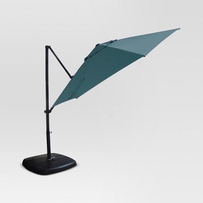 11u0027 Aluminum Push Button Tilt Patio Offset Umbrella With Base   Azure    Threshold™