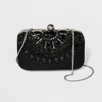 Estee & Lilly Bar Clasp Closure Beaded Clutch - Black