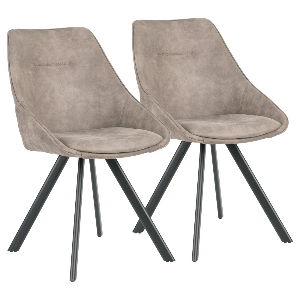 Set of 2 Marche Contemporary Two Tone Chair Stone (Grey) - LumiSource