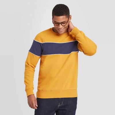 Men's Regular Fit Crew Fleece Sweatshirt - Goodfellow & Co™ Gold