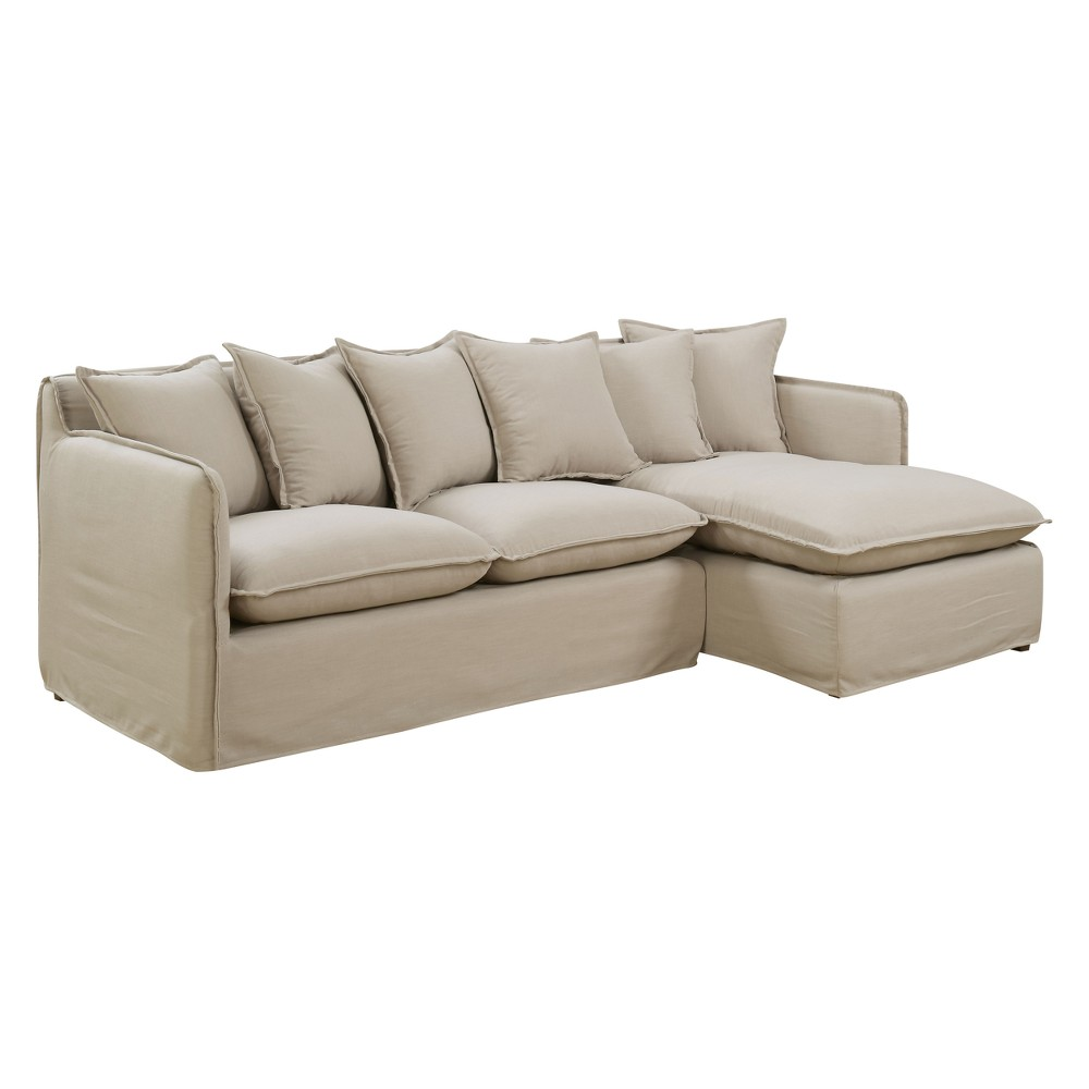 Iohomes Lauria Transitional Welting Trim Sectional Sofa Beige - Homes: Inside + Out