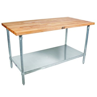 John Boos High-Quality Maple Wood Top Work Table with Adjustable Lower Shelf, 48 x 24 x 1.5 Inch, Galvanized Steel
