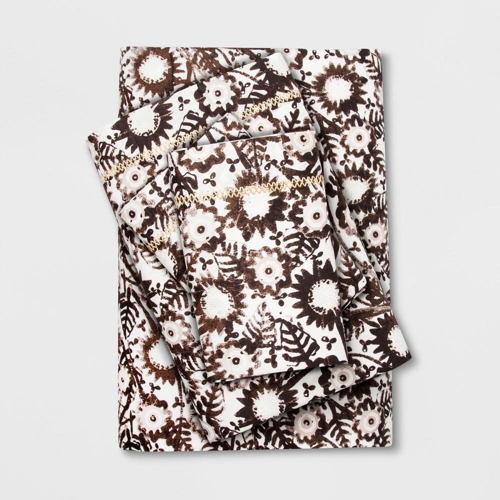 Cotton Percale Print Sheet Set (Full) Dark Brown - Opalhouse