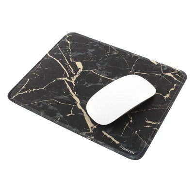 Insten Shiny Marble Gaming Mouse Pad with Stitched Edge, Water-Resistant, Non-Slip Rubber Base, Black, 9.45 x 7.48 in