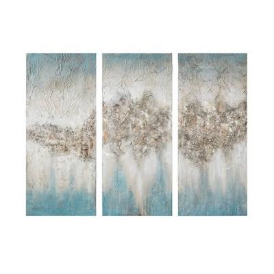 "(Set of 3) 15"" x 35"" Luminous Hand Painted Canvas Set Blue"