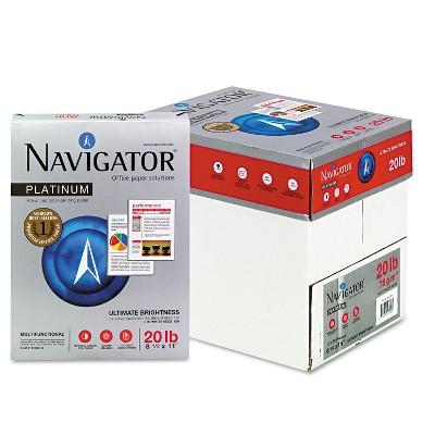 Navigator Platinum Paper 99 Brightness 20lb 8-1/2 x 11 White 2500/Carton NPL11205R
