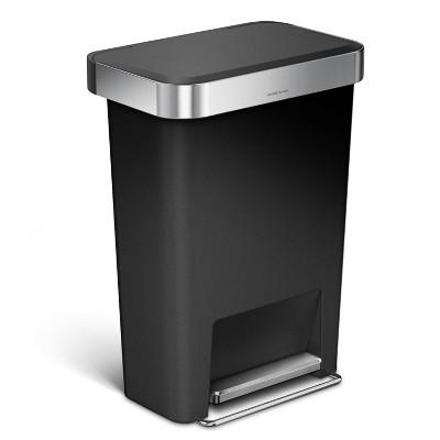 simplehuman 45L Rectangular Trash Can - Black